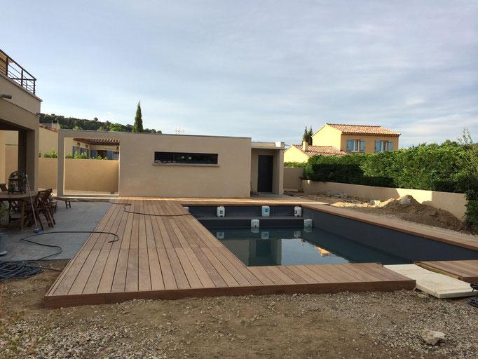 Extension piscine terrasse bois