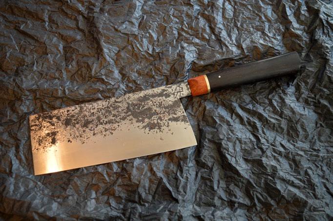 #434, chinese cleaver 135Cr3, ébène noir & palissandre, 190mm