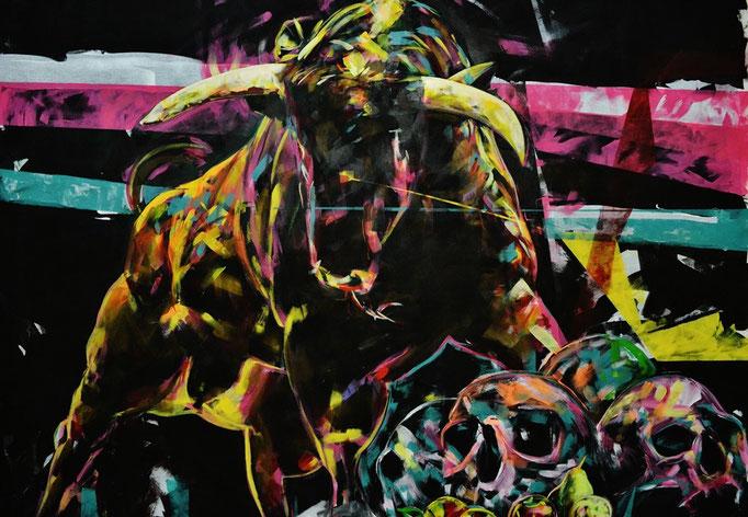 """NUTS"" 2016-2017 Acrylic on canvas 169 x 205 cm"