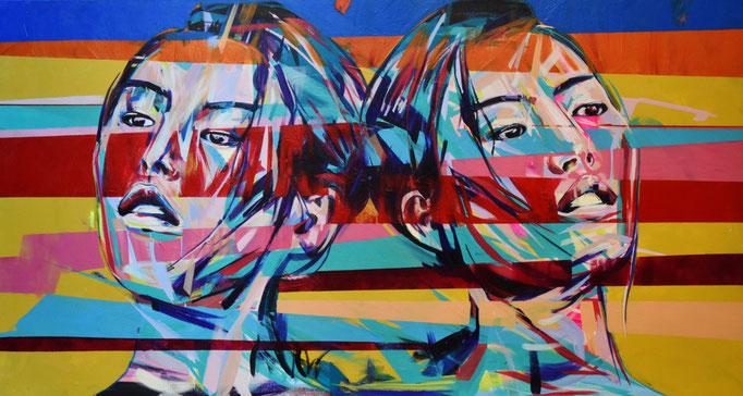 TWINS, 2017, Acrylic on canvas, 155cm x 84cm