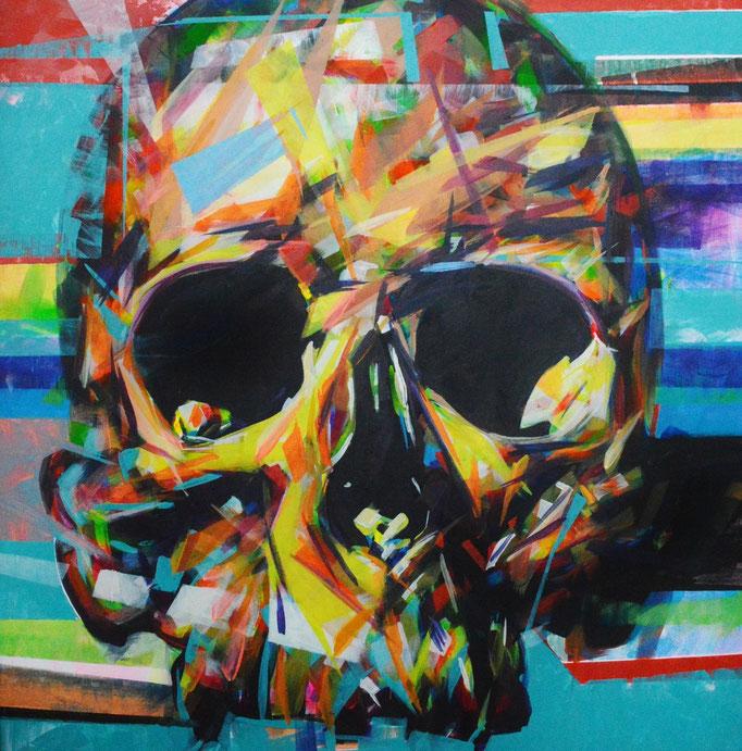 Skull, Acrylic on canvas 90 x 90 cm