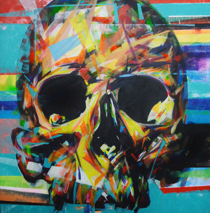 Skull, Acrylic on canvas 90 x 90 cm