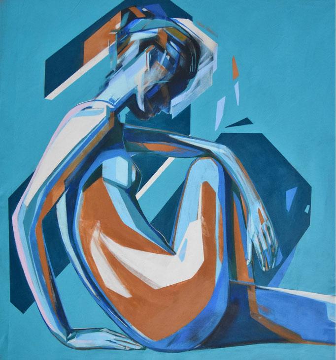 BlueMusa, December 2018, Acrylic on canvas 96 x 86 cm