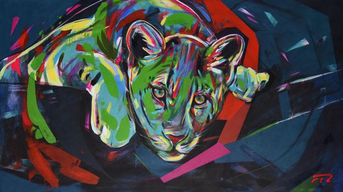 Leopard, Acrylic on canvas, 80 x 140 cm, 2018