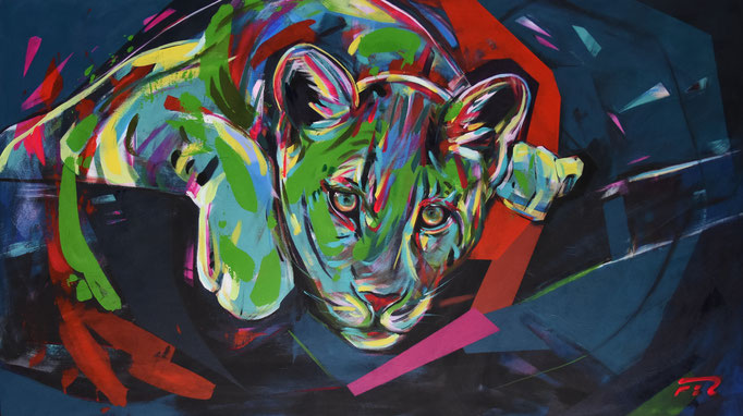 Leopard, Acrylic on canvas, 80 x 140 cm, 2018