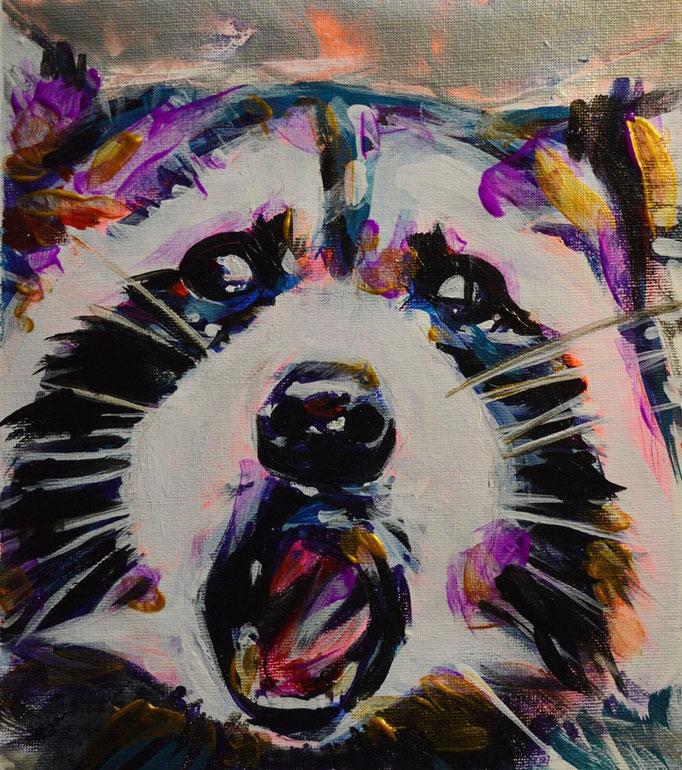 Racoon,  Acrylic on canvas 25 x 30 cm