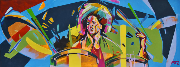 Cindy Blackman, 60 x 160 cm, Acrylic on canvas.