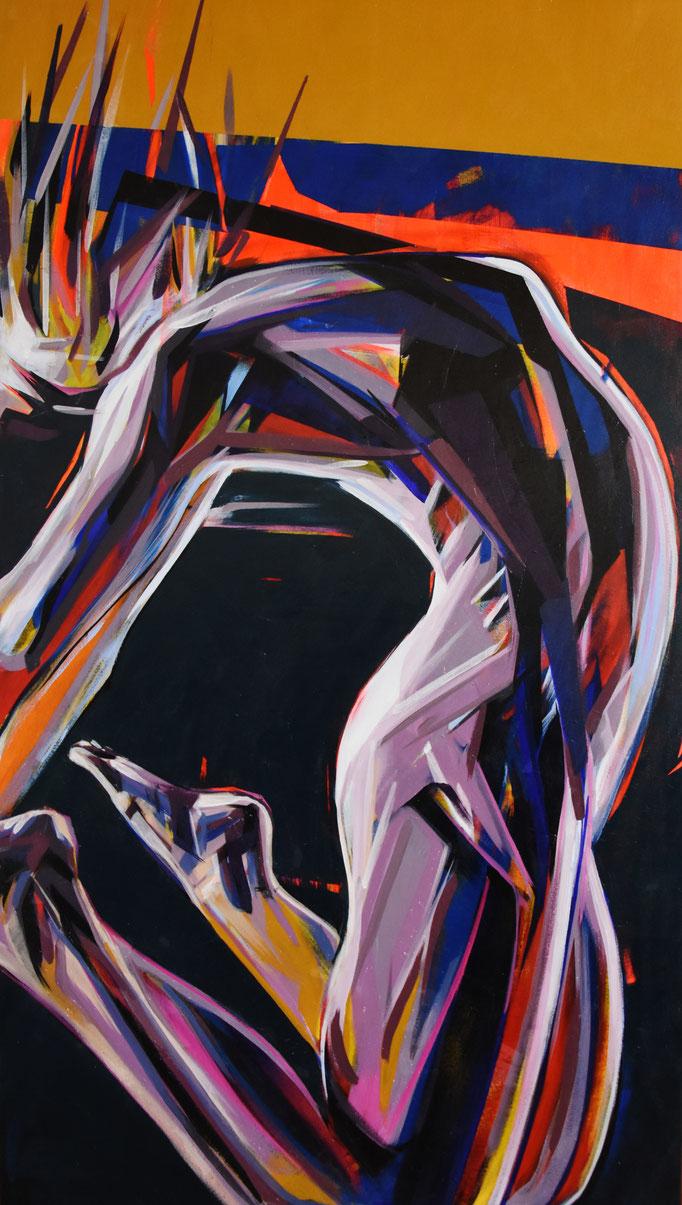 Stretching, August 2017, Acrylic on canvas, 140cm x 80cm