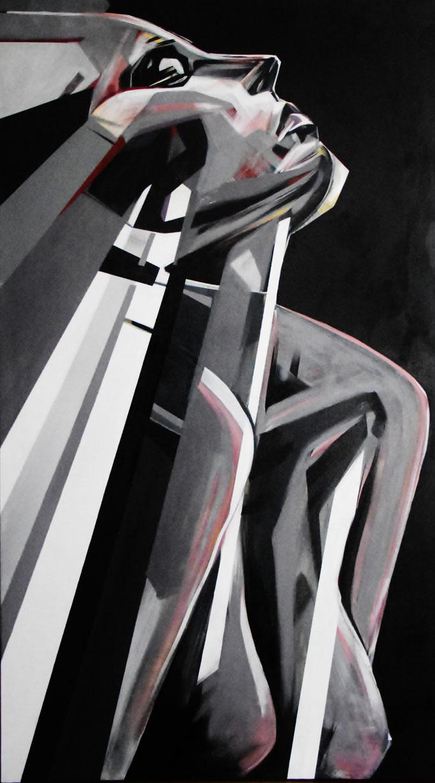 Santiago, August 2017, Acrylic on canvas, 140cm x 80cm