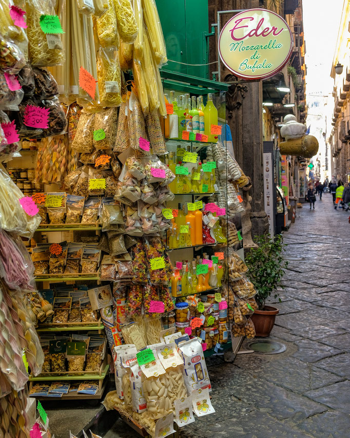 Shop with edible souvenirs in Naples Italy