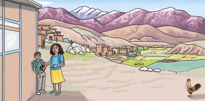 Illustration numérique sortie de l'école village du Haut Atlas