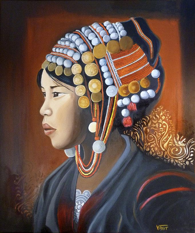 Portrait de femme akha - huile sur toile 55X46