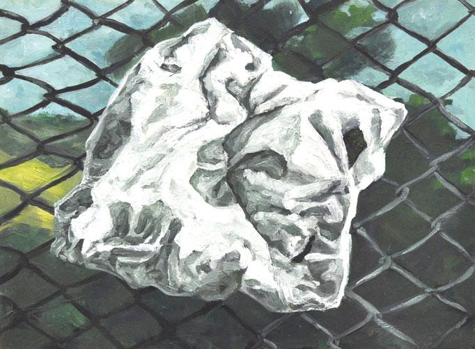 "Masurka Mazza, serie ""Was Bleibt III"", 2020 oil on wood, 20 X 35 X 1 cm"