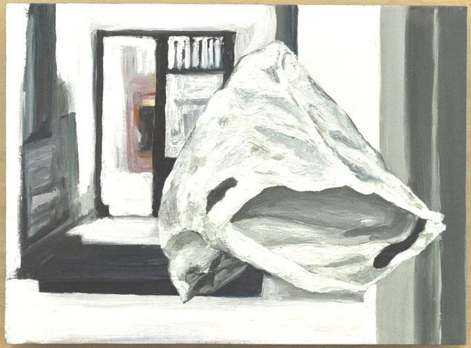 "Masurka Mazza, serie ""Was Bleibt I"", 2020 oil on wood, 20 X 35 X 1 cm"