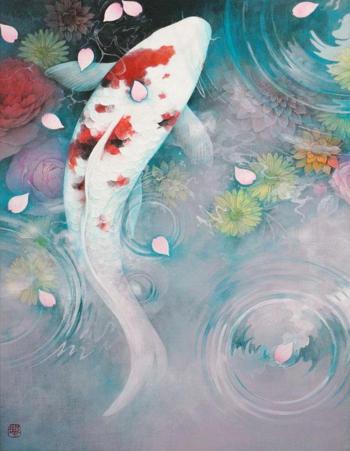 坪田純哉 F6号 『花の泉』 絹本彩色