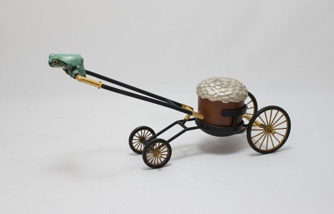 水代達史 銀、銅、真鍮、革、金メッキ W260×D70×H10mm 『Transporter ~花車~』