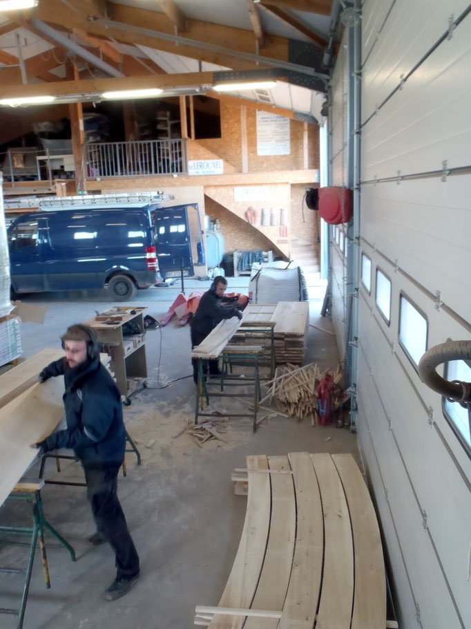 Préparation de toutes les voliges d'arceau avant assemblage