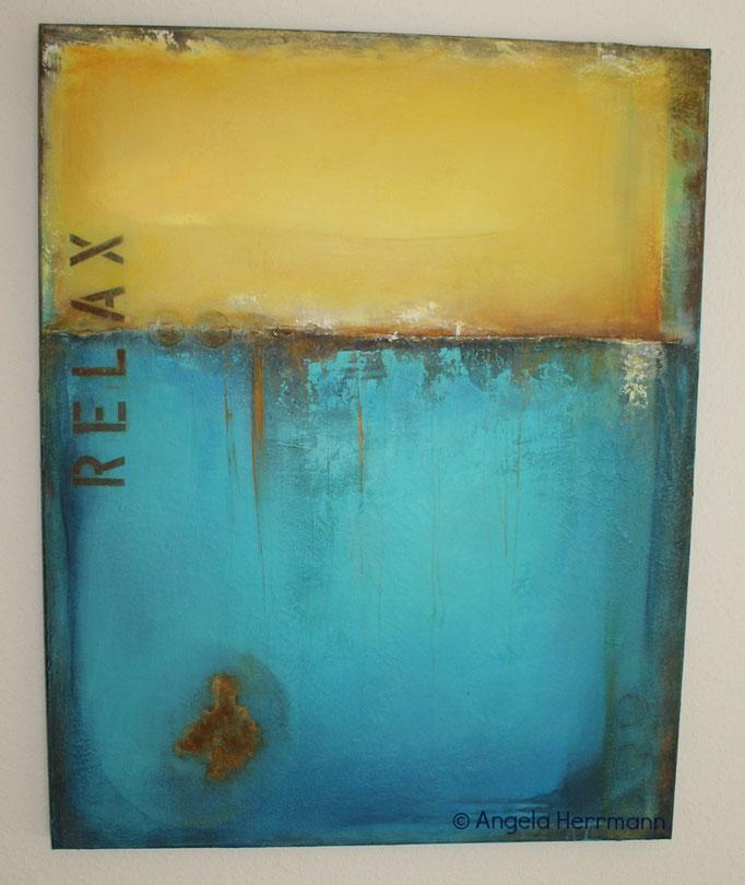"""RELAX"" (Acryl mit Patinaeffekt Rost),  Größe 80 x 100 x 3,5 cm"