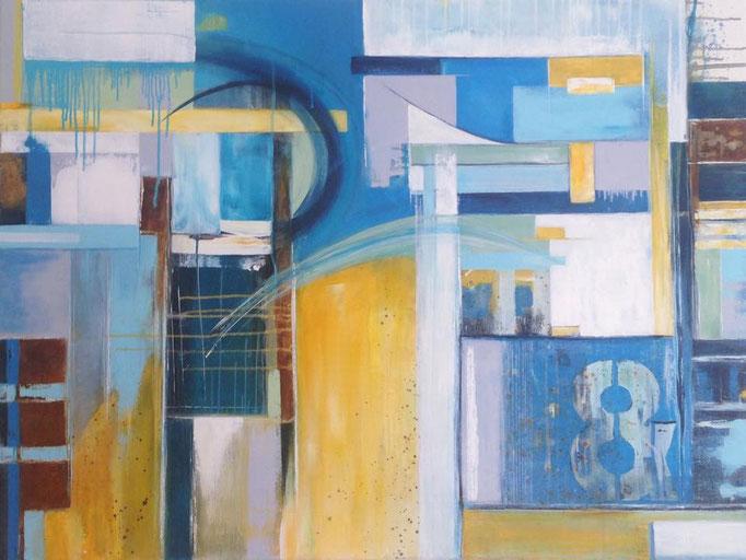 """""""yellow meets blue""""  Größe 90 x 120 x 4 cm"""