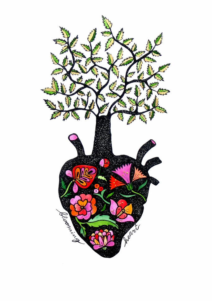 Blooming heart, limited edition print, 2016