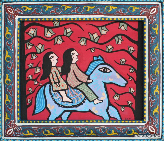Madre y hija - 2015 - natural pigment on wood, handpainted cedarwood frame - cm55x45