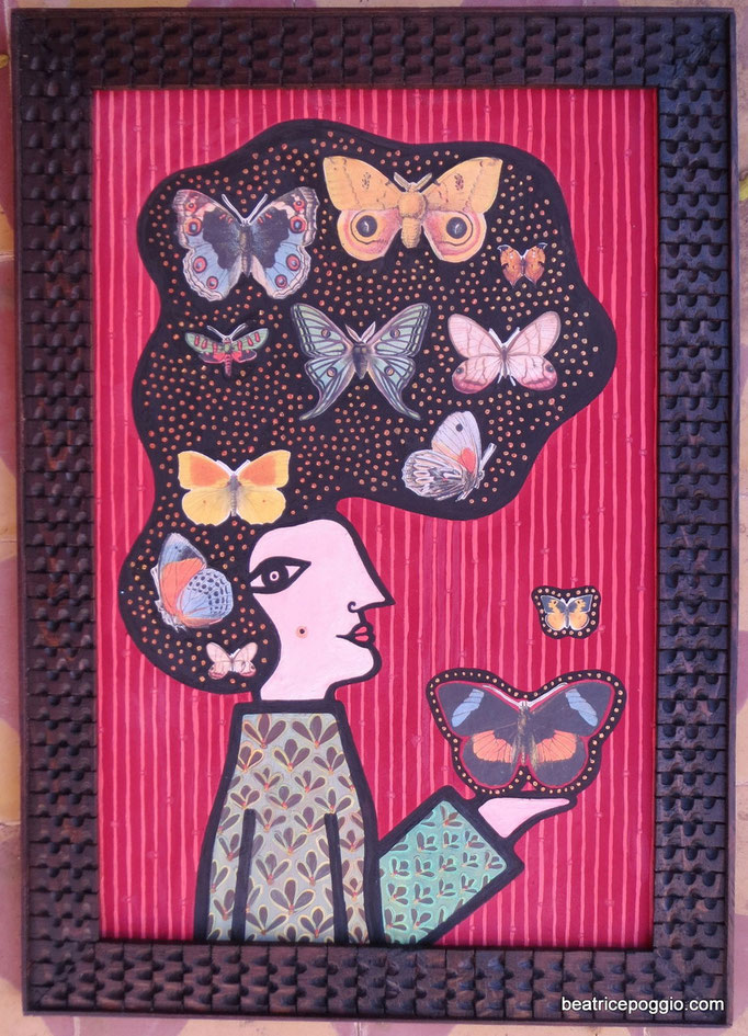 Madame Butterfly, 2014, natural pigments and collage on wood, handcarved frame, cm40xcm50 AVAILABLE