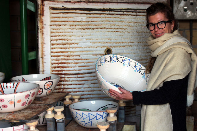 Hand painted ceramic bowls for a commission, Ibiza, 2019