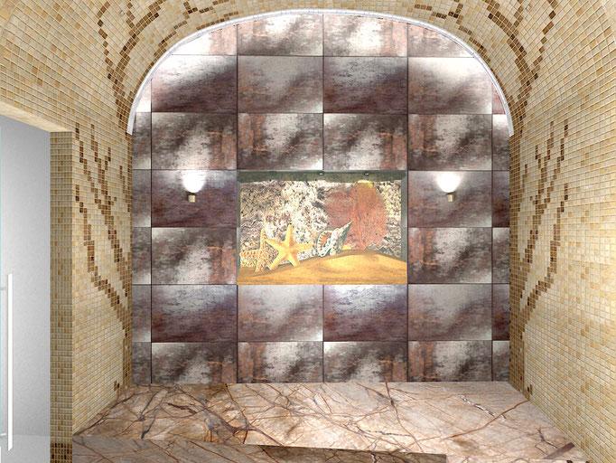 Аквариум с композицией на морскую тематику, встроенный в стену в турецкой парной, придает изюминку интерьеру.