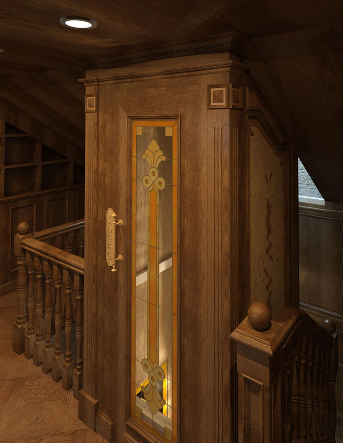 Мансардный этаж. Вид. 2. ОФОРМЛЕНИЕ ЛИФТОВОЙ ШАХТЫ.