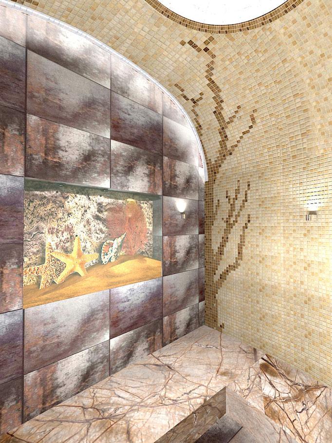 Турецкая парная с купольным сводом выполнена из перламутровой мозайки.