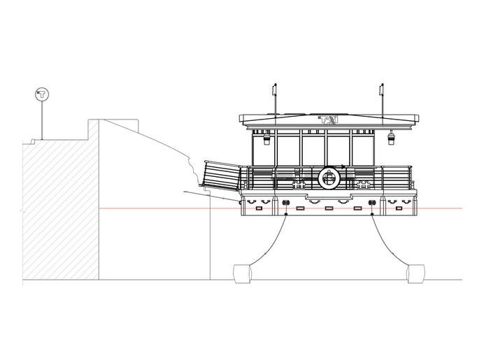 Вид сбоку в проекте причала для водного такси