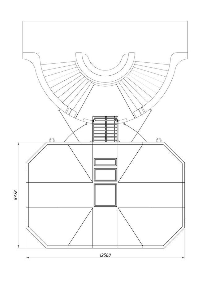 План крыши причала для водного такси с световыми люками