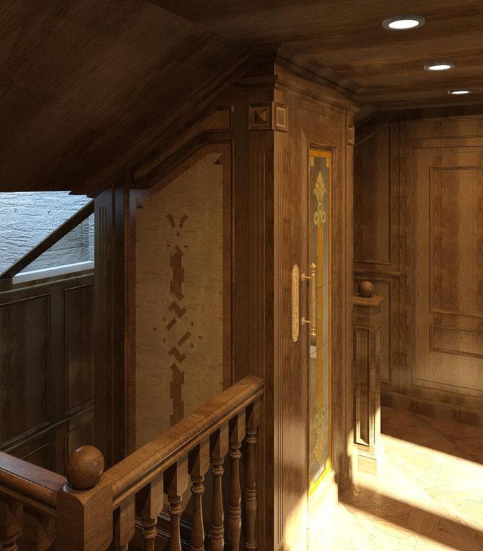 Мансардный этаж. Вид. 1. ОФОРМЛЕНИЕ ЛИФТОВОЙ ШАХТЫ.