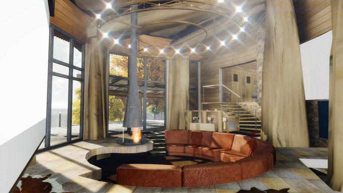 Гостинная с потрясающей люстрой над диванной группой с камином освещеная естественным светом обильно струящимся благодаря панорманому остеклению с умиротворяющим видом на озеро