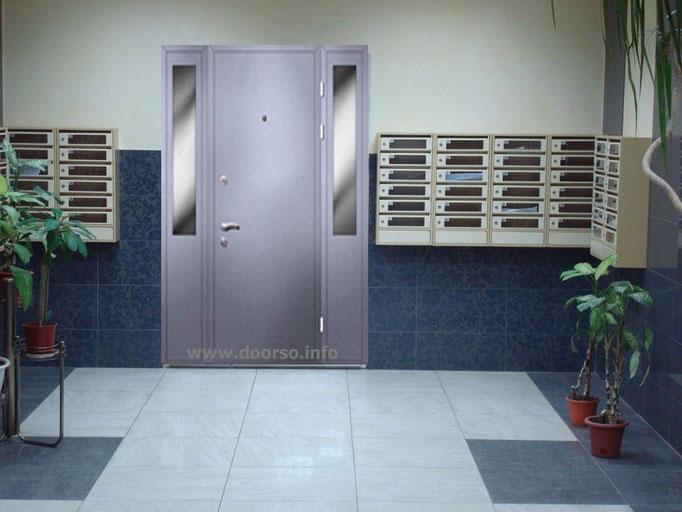 подъездная дверь со стеклянными вставками