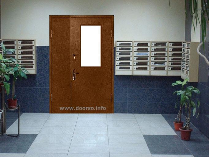 подъездная  дверь с окном