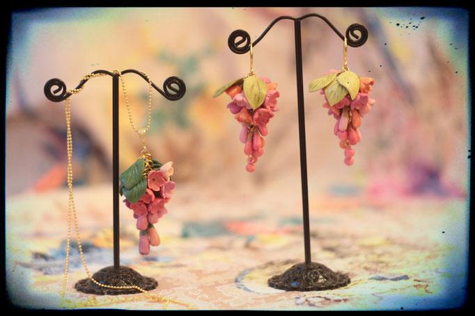 серьги Цветочная гроздь 1300р, кулон 950р