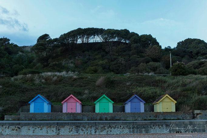 Badehäuser am Strand von Folkstone