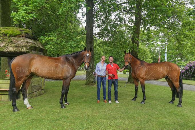 Antje und Pato Muente mit Zera 23 und Caracho 14 - Pato erreicht mit Zera (links) den 9. Platz beim Hamburg-Derby 2016 - Herzlichen Glückwunsch!!!