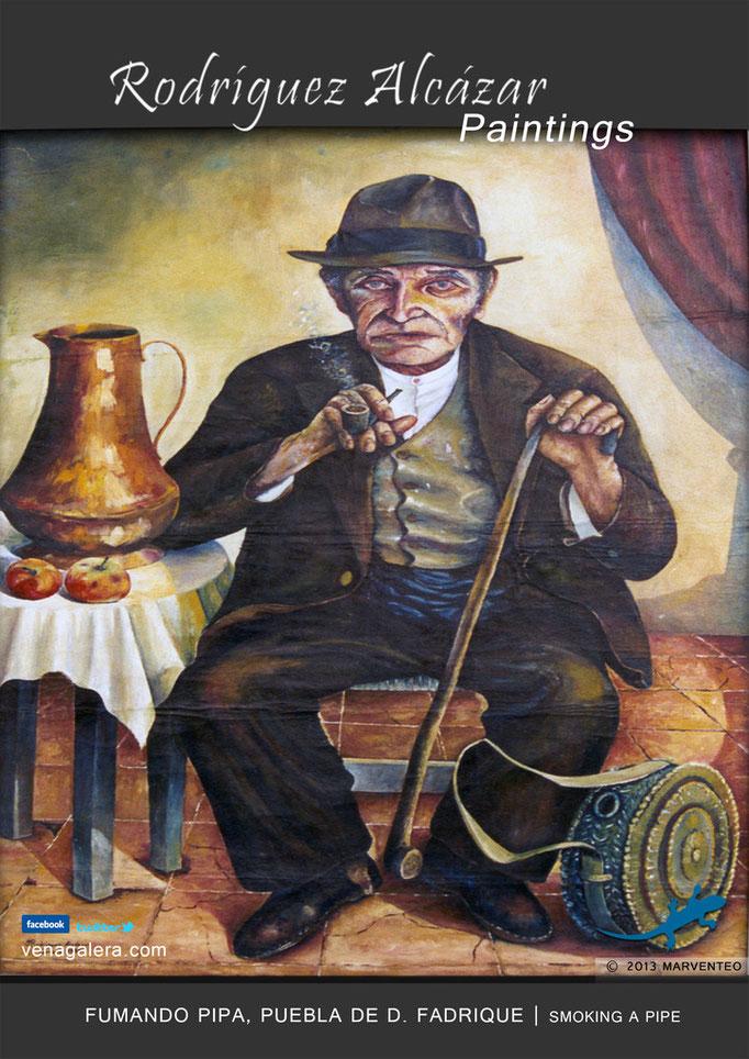 Fumando pipa - Pintor Jesús Rodríguez Alcázar - Puebla de Don Fadrique
