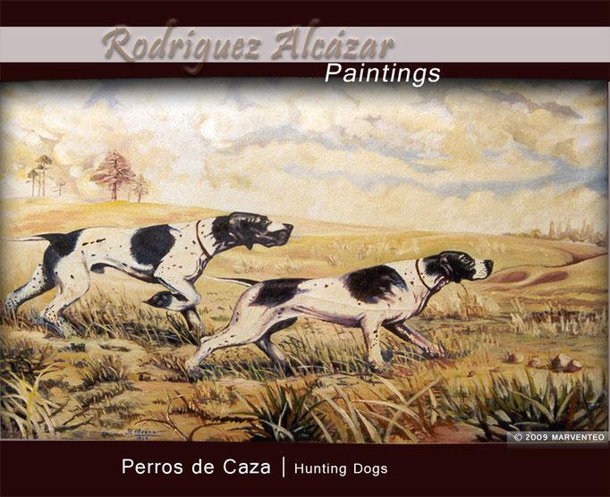 Perros de caza - Pintor Jesús Rodríguez Alcázar - Puebla de Don Fadrique