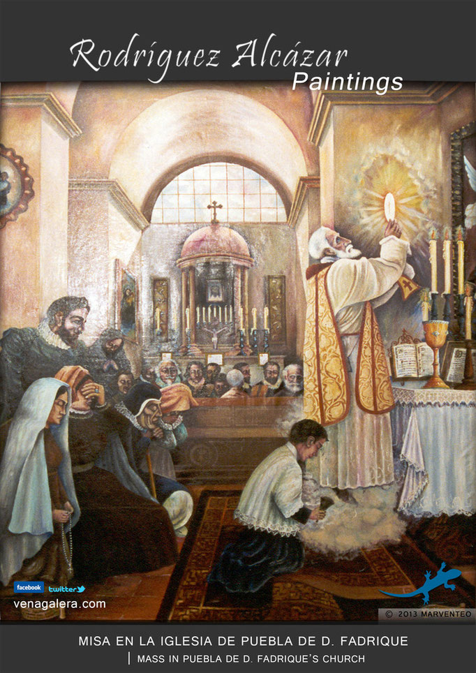 Misa en la iglesia - Pintor Jesús Rodríguez Alcázar - Puebla de Don Fadrique