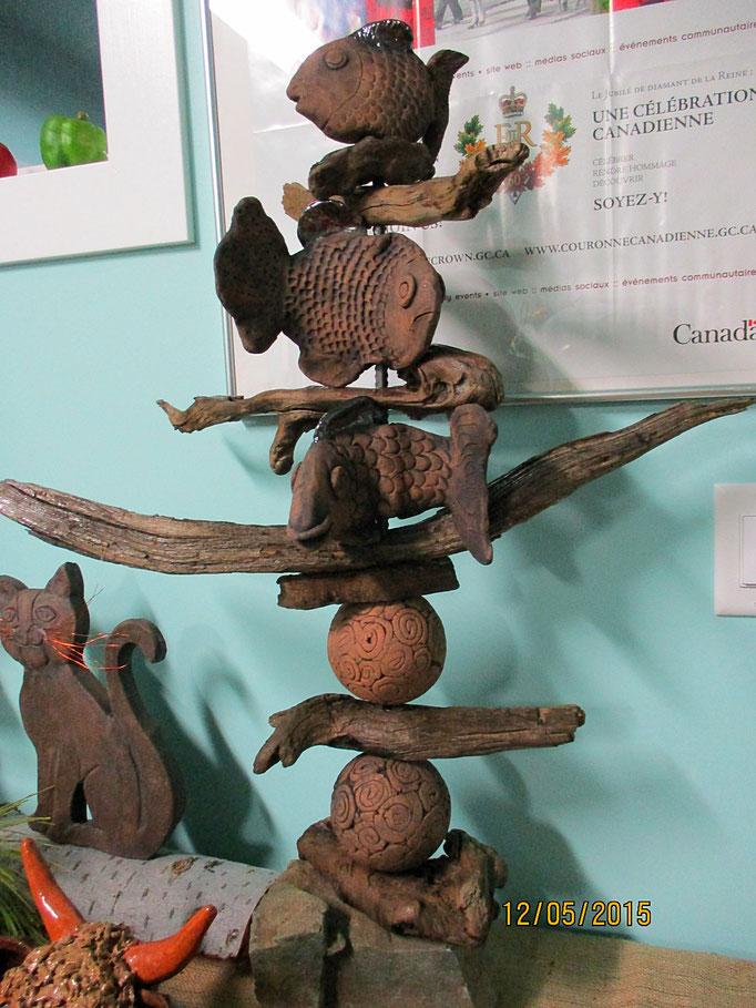 Fish-Driftwood Totem