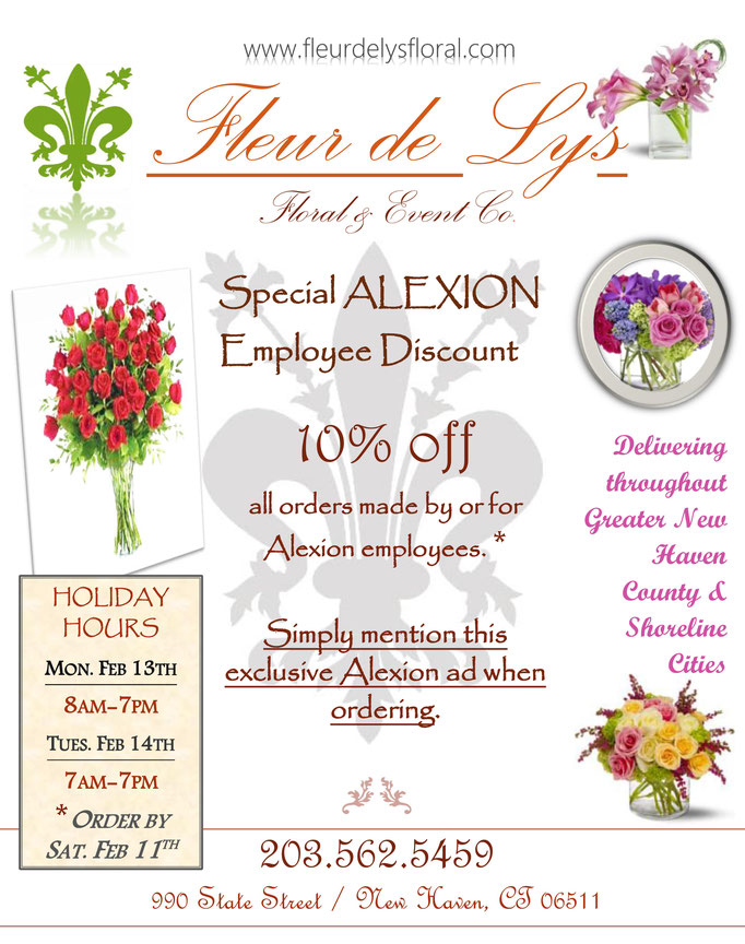 Valentine's Day promotional flyer for Fleur de Lys floral shop.