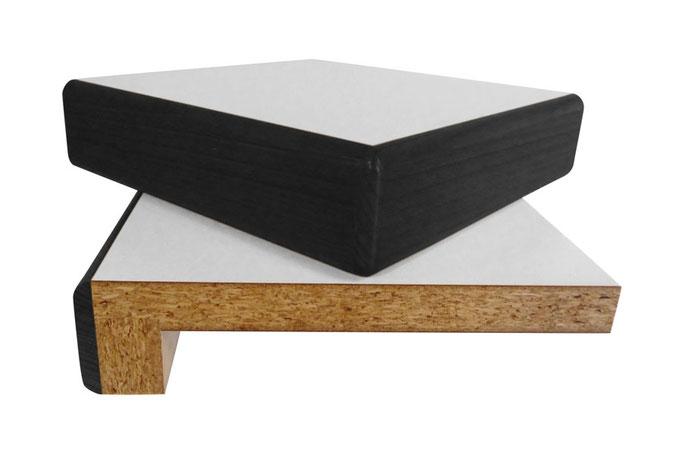 Massivholzkante gebeizt, 50 mm aufgedoppelt, Trägerplatte 19 mm Span