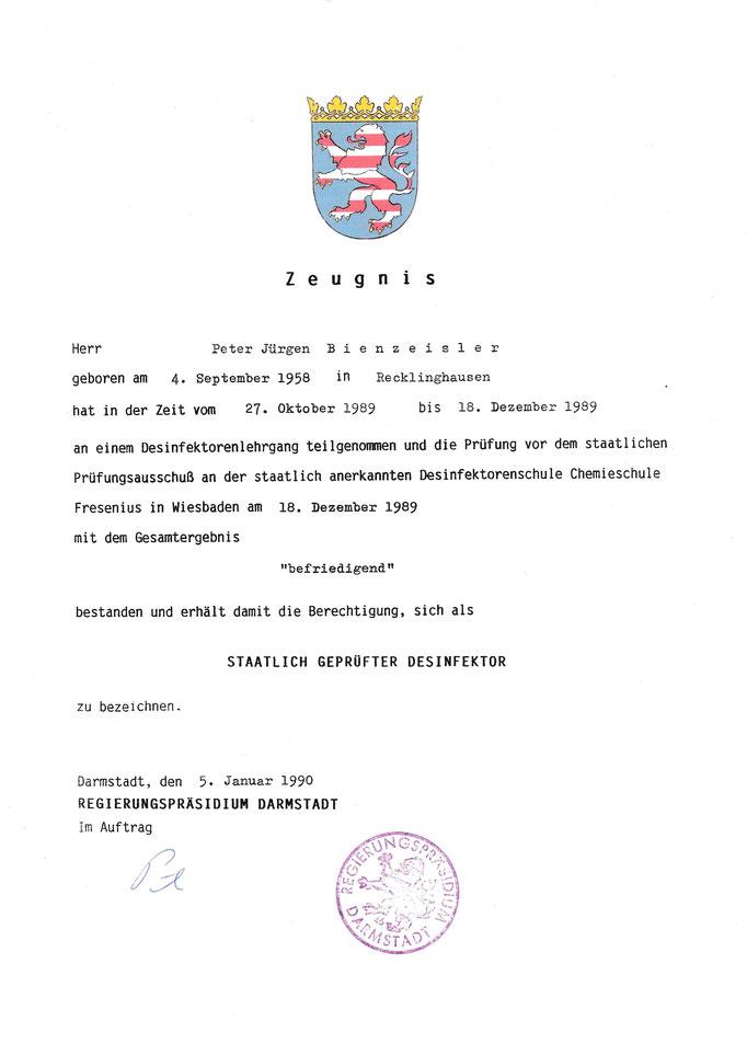 Zertifikate/ Qualifikationen - Sonderreinigungen Tatortreinigung ...