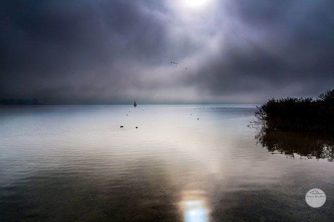 "Bild: Bodensee nahe Hemmenhofen, ""sailing in the fog"", www.2u-pictureworld.de"