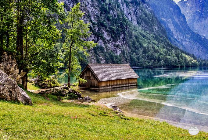 """Bild: Obersee, Berchtesgardener Land, Schönau am Königsee, Deutschland, """"Obersee cabin""""; www.2u-pictureworld.de"""