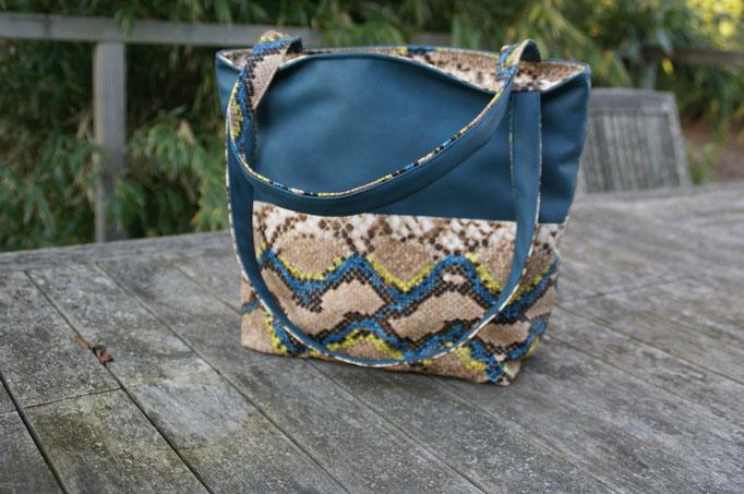 sac cabas en simili-cuir peau de serpent bleu
