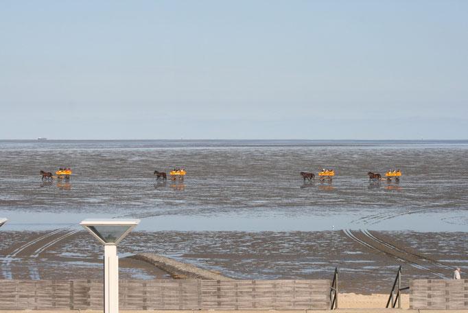 Wattwagen vor der Residenz Meeresbrandung